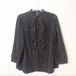 George Button Down Shirt black dot design XL